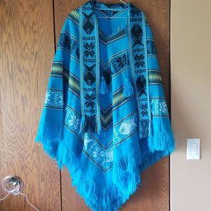 Jackets & Blazers - Beautiful Turquoise Lightweight Poncho Never Worn